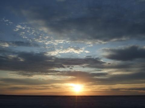 Beautiful Sunrise at Salt Flats